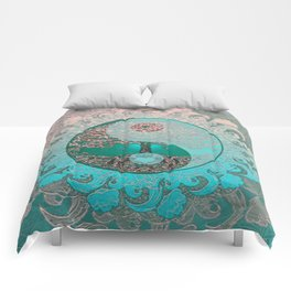 Pretty Chic Teal Tree of Life with Yin Yang and Heart Comforters