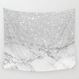 Modern faux grey silver glitter ombre white marble Wall Tapestry