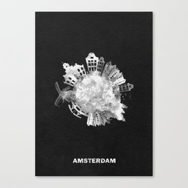 Amsterdam, The Netherlands Black and White Skyround / Skyline Watercolor Painting (Inverted Version) Canvas Print