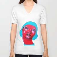 bubble V-neck T-shirts featuring BUBBLE by Zelda Bomba