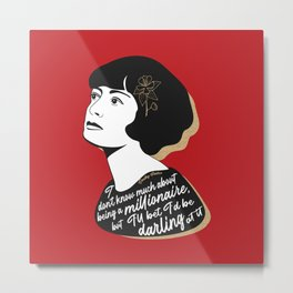 Millionaire Quote - Dorothy Parker - Red Metal Print