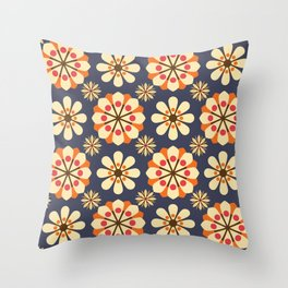 Blooming Dandelions in Navy Throw Pillow