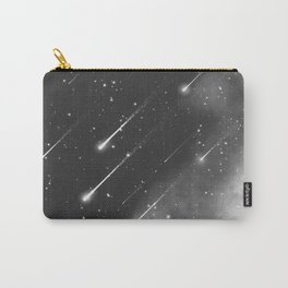 Monochrome space. Starfall. Night starry sky. Carry-All Pouch