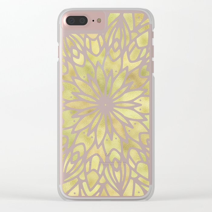 Mandala Yellow Sunflower Clear iPhone Case