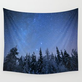 Shimmering Blue Night Sky Stars 2 Wall Tapestry
