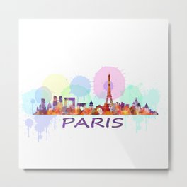 Paris City Skyline HQ, Watercolor Metal Print
