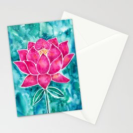 Sacred Lotus – Magenta Blossom with Turquoise Wash Stationery Cards