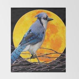 BLUE JAY & GOLDEN MOON LIGHT ABSTRACT Throw Blanket