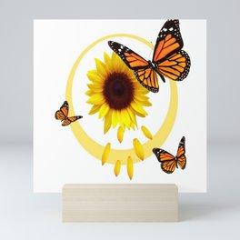 ORANGE MONARCH BUTTERFLIES & SUNFLOWER  PATTERN Mini Art Print