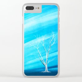 Big white leafless tree blue background Clear iPhone Case