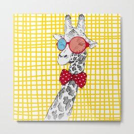 3D Giraffe / Yellow White & Red Print Metal Print