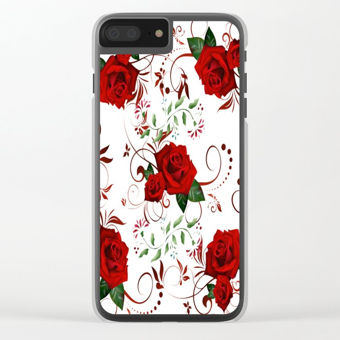 Enchanted Red Rose Abstract Clear iPhone Case