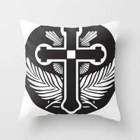 religious Throw Pillows featuring Black And White Cross Religious Symbol by ArtOnWear