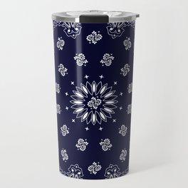Paisley - Bandana - Navy Blue - Southwestern - Cowboy Travel Mug