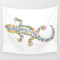 barcelona Wall Tapestries featuring Barcelona Lizard by XOOXOO