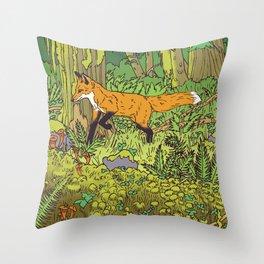 Fox & Fern Throw Pillow
