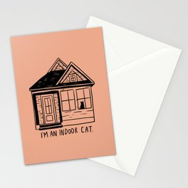 Indoor Cat (house) Stationery Cards
