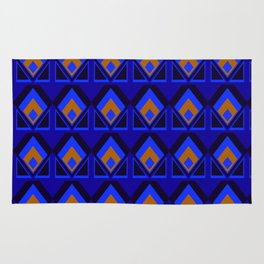 Blue and Orange Pattern Rug