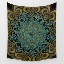 Teal and Gold Mandala Swirl Wall Tapestry