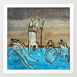 swimming in the midnight Art Print