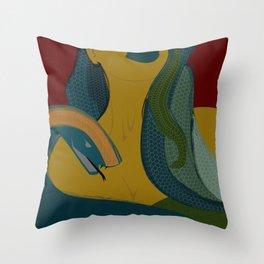 MEDUSA - Mythology, Snakes, Green, Yellow, Girl, Legend, Lips Throw Pillow