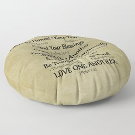 Christian Faith Family Rules w/Scripture Reference Floor Pillow