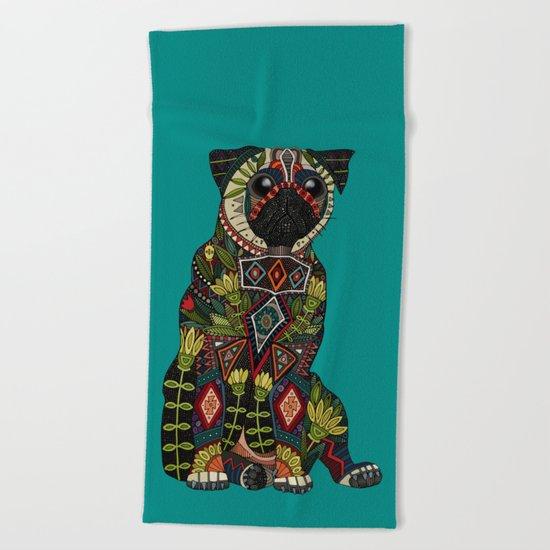 pug love teal Beach Towel