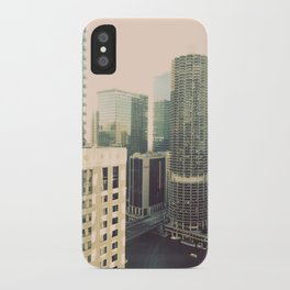 Chicago River Marina Tower Color Photo iPhone Case