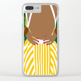 Yellow Girl Clear iPhone Case