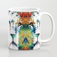 nfl Mugs featuring Colorful Lion Art By Sharon Cummings by Sharon Cummings