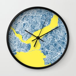 ISTANBUL City Map - Turkey   Blue   More Colors, Review My Collections Wall Clock