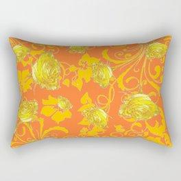 AWESOME CUMIN ORANGE & YELLOW ROSE SCROLLS  ART Rectangular Pillow