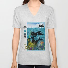 Girl Under The Sea...With A Friend Of Gold! Unisex V-Neck