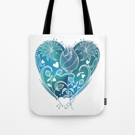 White Inked Floral Heart - Blues Tote Bag