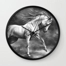 Running white horse - equine art Wall Clock