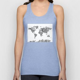floral world map black and white Unisex Tank Top