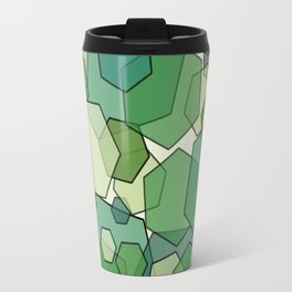 Converging Hexes - Green and Yellow Travel Mug