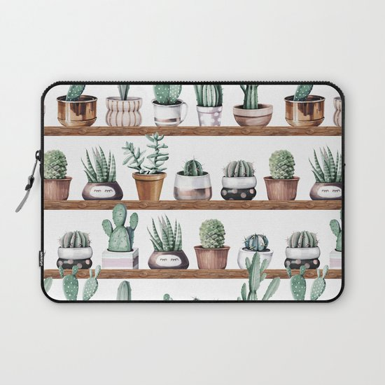 Cactus Shelf Rose Gold Green Laptop Sleeve by Nature