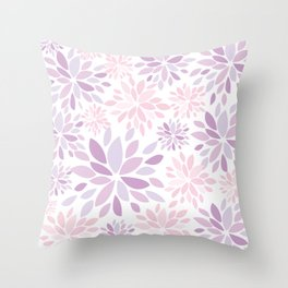 Nature's Healing Mandala Pastel Pink Throw Pillow