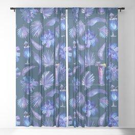 Tropical Night - Pattern 2 Sheer Curtain