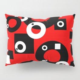 Black white Rings red background Pillow Sham