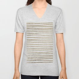 Elegant chic faux gold modern stripes pattern Unisex V-Neck