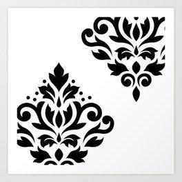 Scroll Damask Art I Black on White Art Print