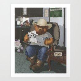 Redneck Teddy Art Print
