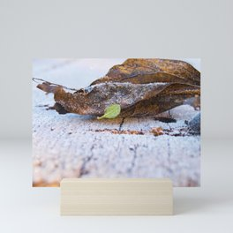 Frosted leaves on the snowy table. Mini Art Print