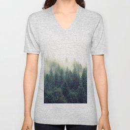 Foggy Winter Forest Unisex V-Neck