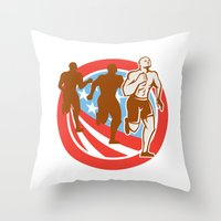 crossfit Throw Pillows featuring American Crossfit Runners USA Flag Circle Retro  by patrimonio