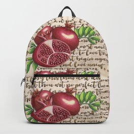 Pomegranate, Love Anew, Persephone, fruit art, love poem, food art, rebirth, fertility goddess Backpack