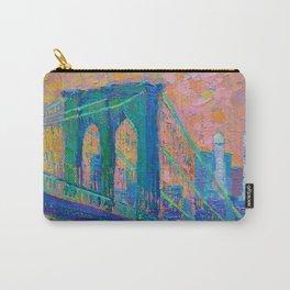 """Brooklyn Bridge"" palette knife urban city landscape painting by Adriana Dziuba Carry-All Pouch"