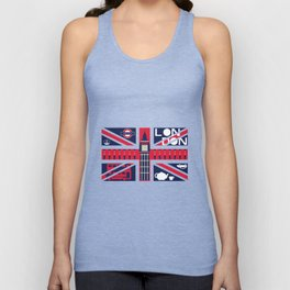 Vintage Union Jack UK Flag with London Decoration Unisex Tank Top